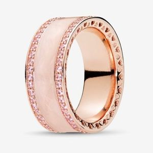 Pandora Rose Gold Hearts Pink Cream Enamel ring 56